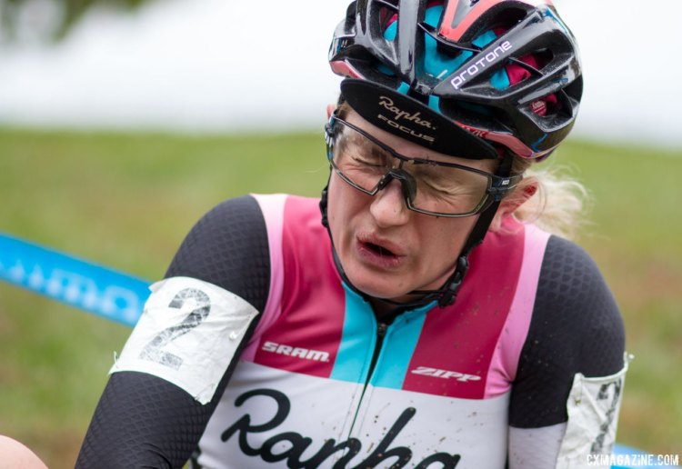 Ellen Noble was exhausted, but happy after winning Sunday's race. Elite Women, 2017 Cincinnati Cyclocross, Day 2, Harbin Park. © Cyclocross Magazine