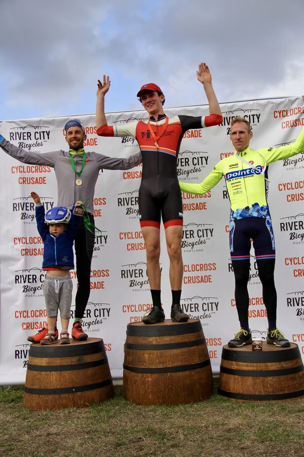 Men's Elite Podium (l to r) 2nd Christopher Jones (United Health) Henry Jones (Bend Endurance Academy) and Molly Cameron (Point S Racing) CX Crusade 2017 Day One. Photo Mike Estes