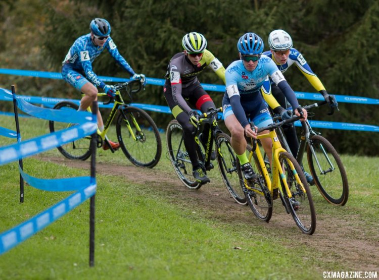 Ben Gomez Villafane leads his best friend Alex Morton, along with Greg Gunsalus and Lane Maher. Junior Men, 2017 Cincinnati Cyclocross, Day 2, Harbin Park. © Cyclocross Magazine
