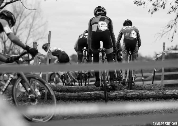 The only barriers on the course were these two logs, and almost every single UCI rider hopped them. Junior Men, 2017 Cincinnati Cyclocross, Day 2, Harbin Park. © Cyclocross Magazine