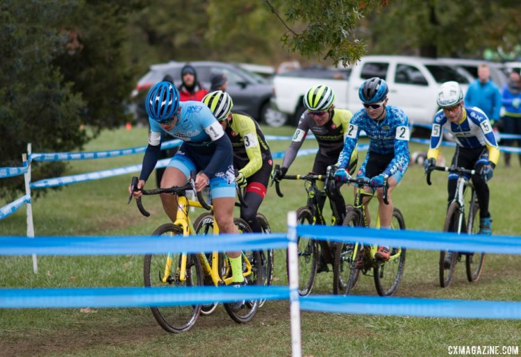 With one lapt to go, the lead group ascends the long climb for the penultimate time. Lane Maher, Day 1 winner, holding the flats of his bar, looks at ease. Junior Men, 2017 Cincinnati Cyclocross, Day 2, Harbin Park. © Cyclocross Magazine