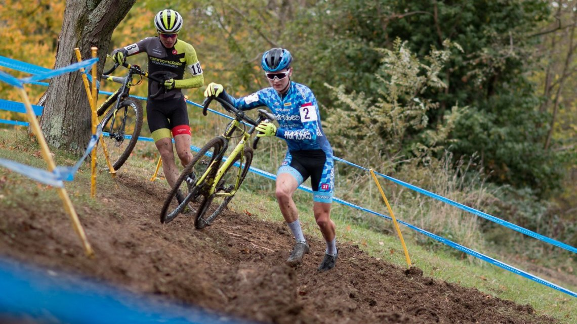 Sam Noel catches Lane Maher in the Junior Men's race. 2017 Cincinnati Cyclocross, Day 1. © Cyclocross Magazine