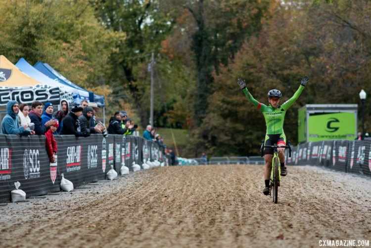 Kaitie Keough continues her impressive season with a UCI C1 win and a commanding lead in the US Cup CX. Elite Women, 2017 Cincinnati Cyclocross, Day 1. © Cyclocross Magazine