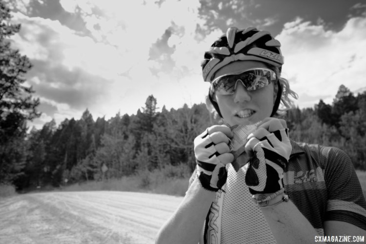 Kelton Williams grabs some in-ride fuel. 2017 Montana Cross Camp © Cyclocross Magazine