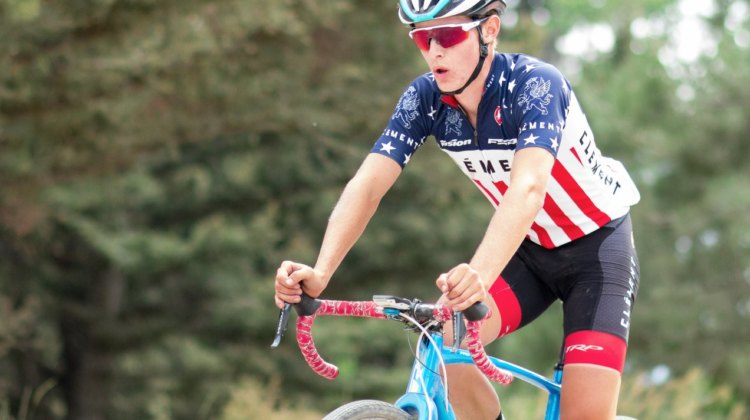 Lance Haidet got to show off his U23 National Champion's jersey during the KOM climb. 2017 Montana Cross Camp © Cyclocross Magazine