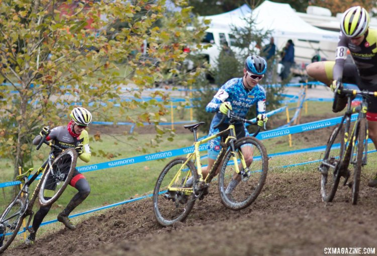 Alex Morton, Lane Maher and Sam Noel battle on the muddy course on Day 1 of the 2017 Cincinnati Cyclocross weekend. © A. Yee / Cyclocross Magazine