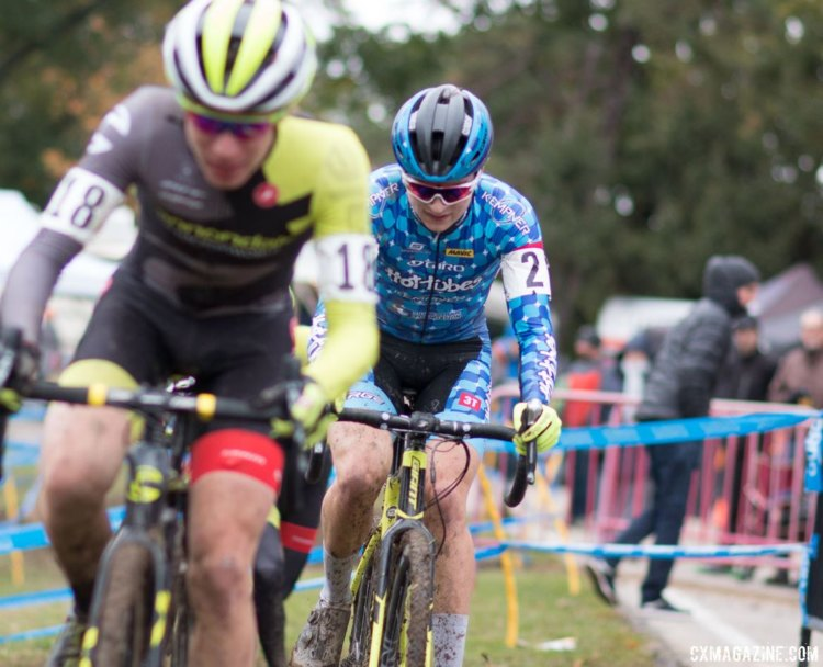 Lane Maher battled against two Cannondale p/b Cyclocrossworld.com rivals on Saturday. © A. Yee / Cyclocross Magazine