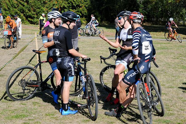 Riders chat after their hour-long friendly battle. MFG Cyclocross #4. photo: G. Crofoot