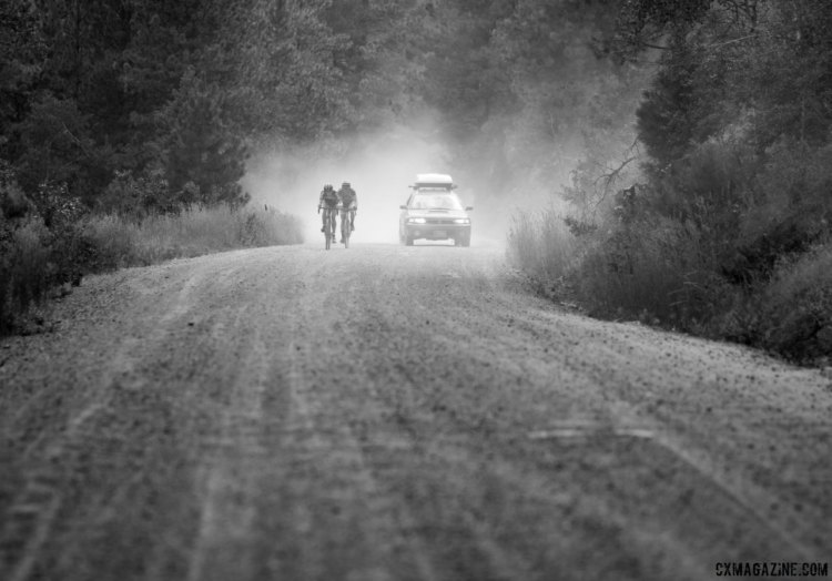 Calder Wood and Gage Hecht duke it out on the KOM climb. 2017 Montana Cross Camp. © A. Yee / Cyclocross Magazine