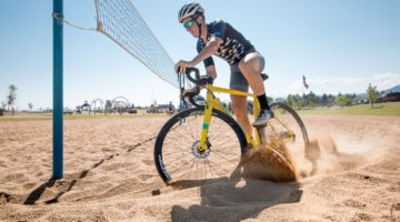 Ben Gomez Villafane powers through the sand during the final day of cyclocross drills. 2017 Montana Cross Camp © Cyclocross Magazine