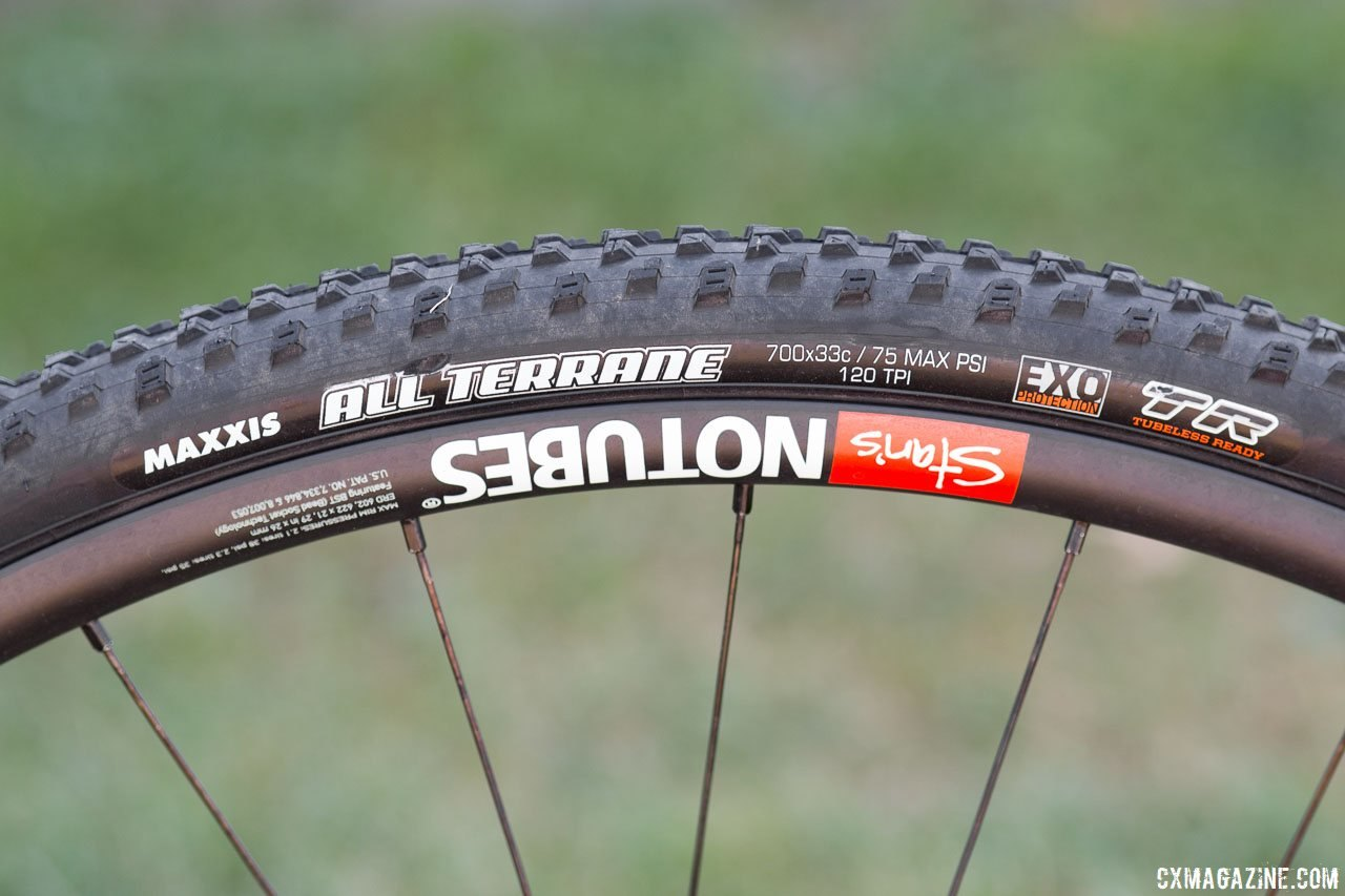 Rebecca Fahringer had success running tubeless tires last year. Rebecca Fahringer's Scott Addict CX with tubeless Maxxis tires. © Cyclocross Magazine