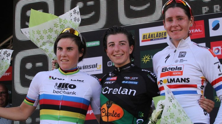 Women's podium: Kaptheijns, Cant and Brammeier. 2017 Superprestige Zonhoven. © B. Hazen / Cyclocross Magazine