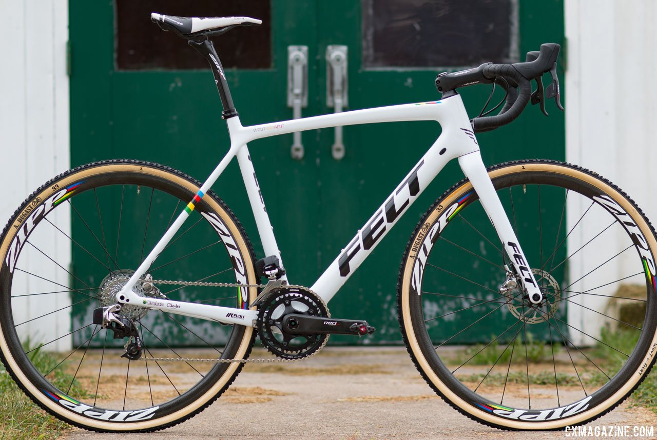 Wout van Aert's 2017 Jingle Cross carbon Felt Fx FRDx cyclocross bike. © Cyclocross Magazine