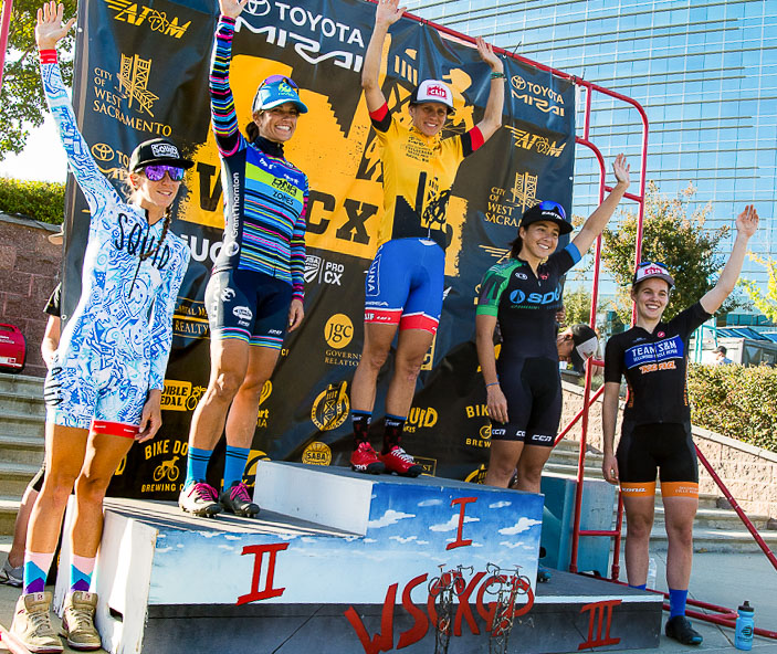 Elite women podium: 1- Katerina Nash, 2-Courtenay McFadden, 3-Amanda Naumann, 4- Samantha Runnels and 5-Clara Honsinger. WSCXGP Day 2. photo: Peloton Sports
