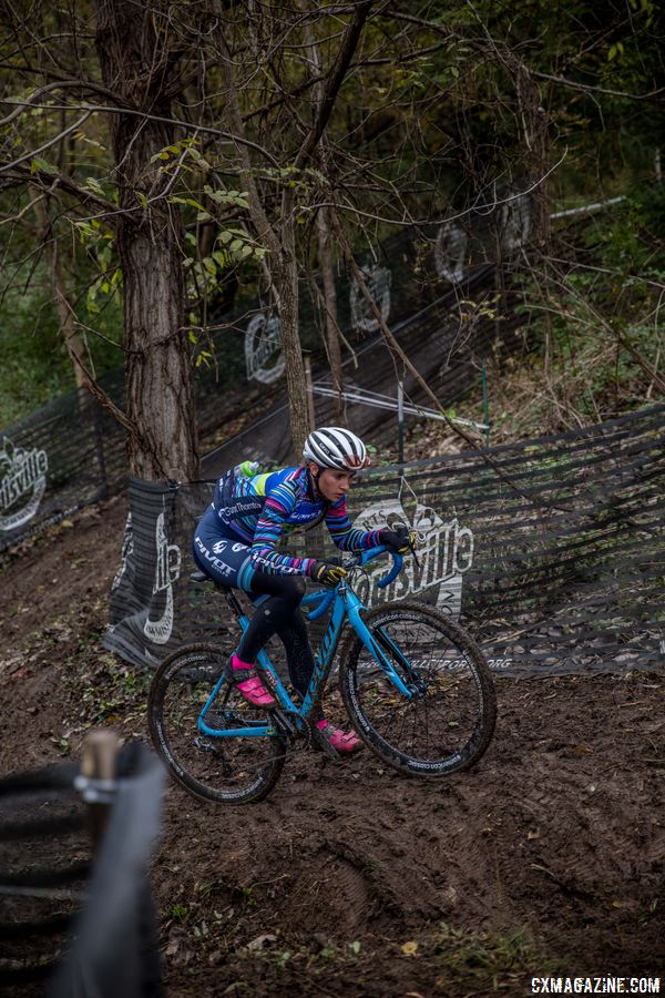 Sofia Gomez-Villafane stares down the deep rut, her last obstacle before the finishing straight. 2017 Derby City Cup. © D. Perker / Cyclocross Magazine