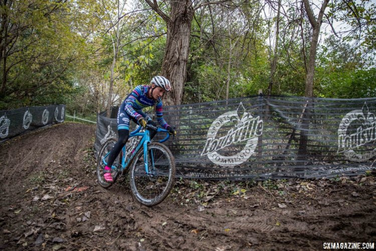 Sofia Gomez-Villafane tries the high line close to the tree. 2017 Derby City Cup. © D. Perker / Cyclocross Magazine