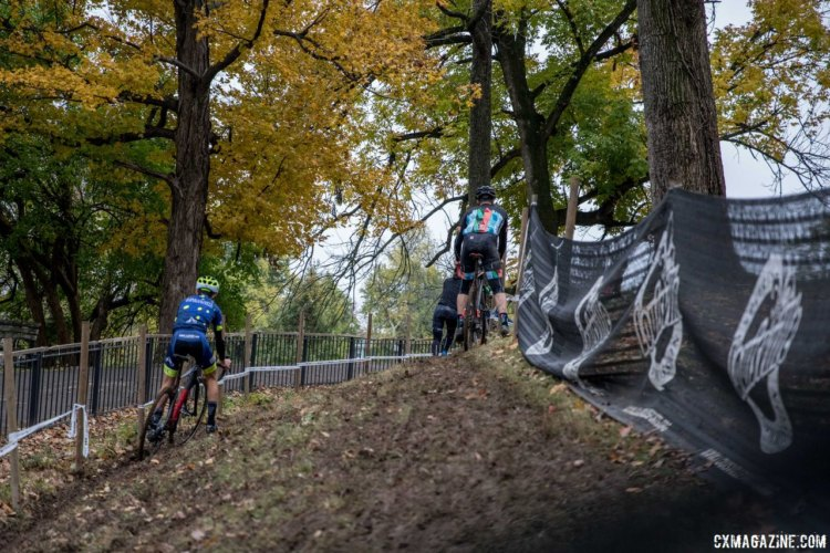 High line, low line, you get your pick on the off-camber section. 2017 Derby City Cup. © D. Perker / Cyclocross Magazine