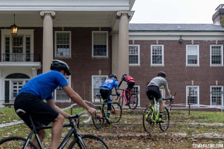 Amateur riders take different lines into the limestone steps in front of the Parks Department mansion. 2017 Derby City Cup. © D. Perker / Cyclocross Magazine