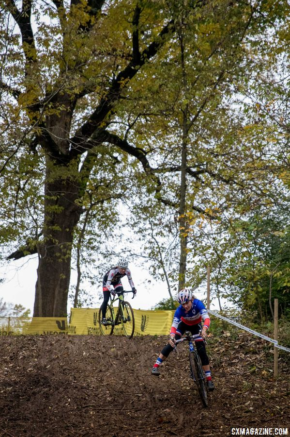 Caroline Mani styles her way around the right-hand turn at the bottom of the steep descent. 2017 Derby City Cup. © D. Perker / Cyclocross Magazine
