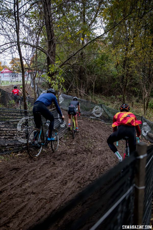 Go high or go low, riders have a choice in the last technical section. 2017 Derby City Cup. © D. Perker / Cyclocross Magazine