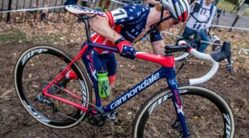 Once he got away solo, Hyde had to balance winning with saving some energy for Sunday's Pan-American Championship. 2017 Derby City Cup. © D. Perker / Cyclocross Magazine