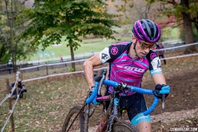 Kerry Werner took third on Saturday after a wheel-to-wheel battle with Tobin Ortenblad. 2017 Derby City Cup. © D. Perker / Cyclocross Magazine