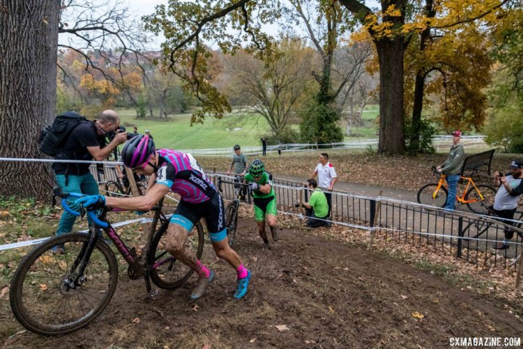 Kerry Werner, Gage Hecht and Tobin Ortenblad were in a group after Hecht's flat. 2017 Derby City Cup. © D. Perker / Cyclocross Magazine