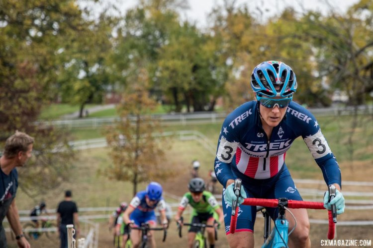 Katie Compton pushed the pace on the first-lap climbs and established a gap with Kaitie Keough. 2017 Derby City Cup. © D. Perker / Cyclocross Magazine