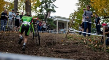 Thie corner after the off-camber became increasingly difficult to ride as the day wore on. 2017 Derby City Cup. © D. Perker / Cyclocross Magazine
