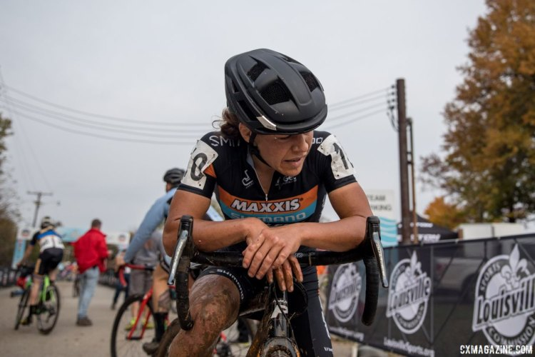 Crystal Anthony was exhausted after finishing third. 2017 Derby City Cup. © D. Perker / Cyclocross Magazine