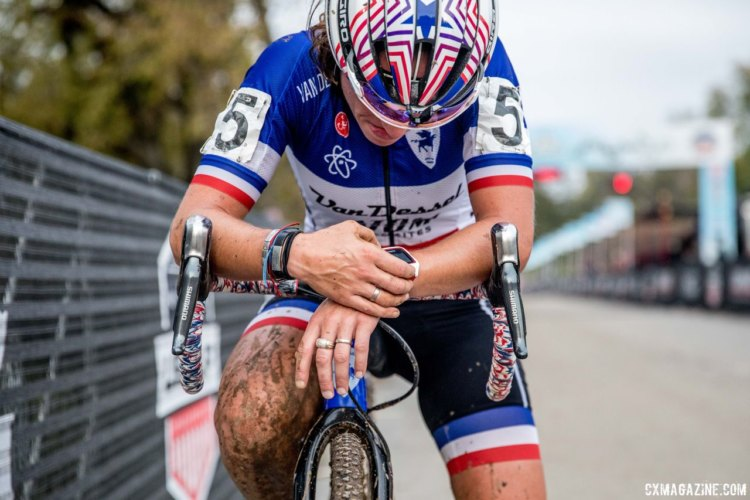 Caroline Mani takes a minute after finishing fourth. 2017 Derby City Cup. © D. Perker / Cyclocross Magazine