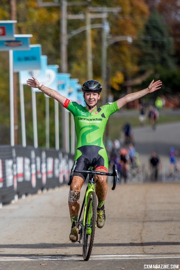 Emma White celebrates her win. 2017 Pan-American Championships. © D. Perker / Cyclocross Magazine
