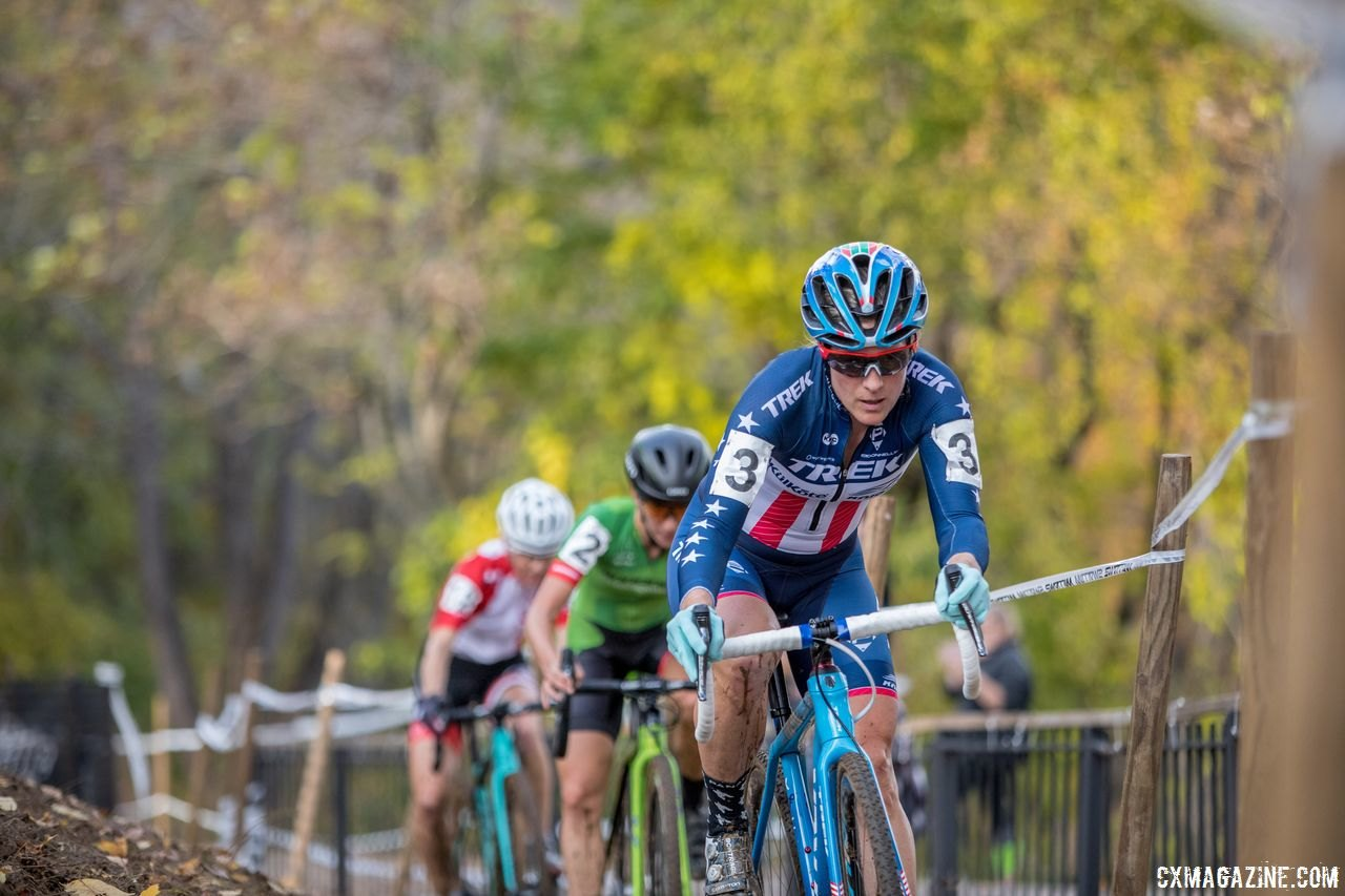 Early on the break was Katie Compton, Kaitie Keough and Christel Ferrier-Bruneau. 2017 Pan-American Championships. © D. Perker / Cyclocross Magazine