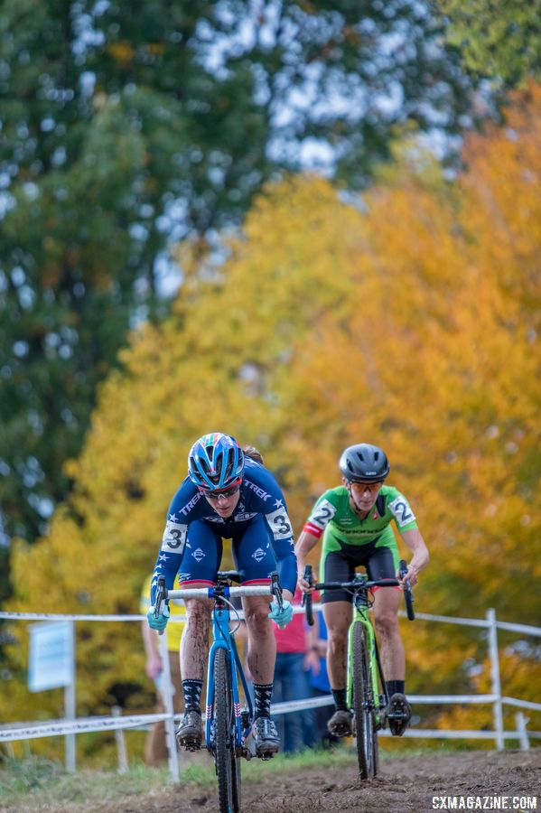 Katie Compton and Kaitie Keough found themselves together off the front yet again on Sunday. 2017 Pan-American Championships. © D. Perker / Cyclocross Magazine