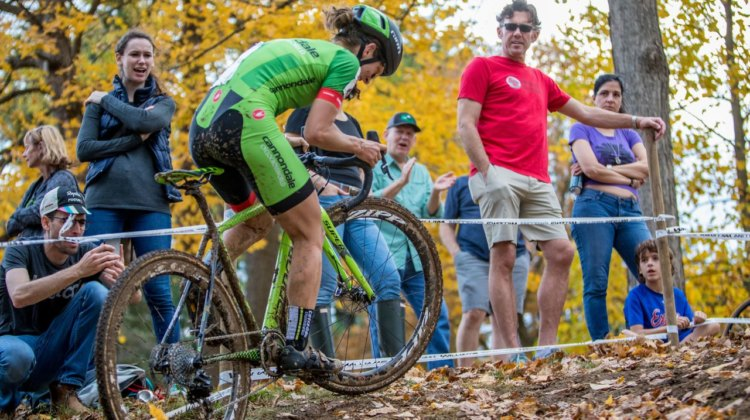 Kaitie Keough works to clear the steep section after the off-camber. 2017 Pan-American Championships. © D. Perker / Cyclocross Magazine