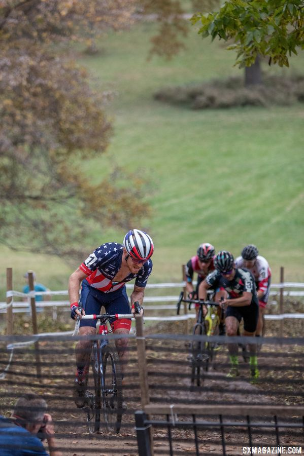 Tobin slipped, Hyde attacked, everyone assumed Van den Ham apologized.. 2017 Pan-American Championships. © D. Perker / Cyclocross Magazine