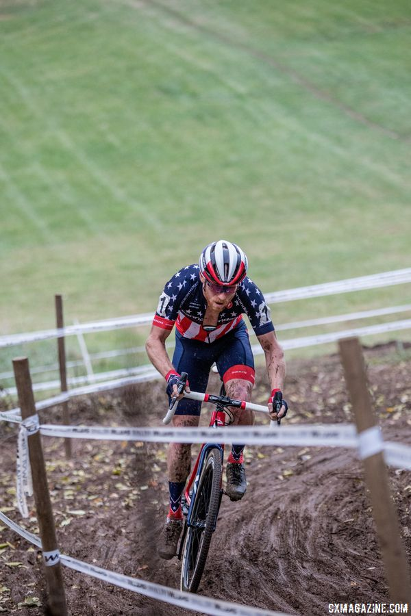 Hyde used the climbs to extend his lead. 2017 Pan-American Championships. © D. Perker / Cyclocross Magazine