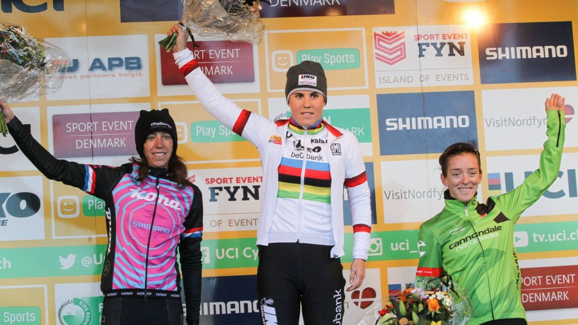 Sanne Cant enjoys a victory at the Bogense World Cup, a test event for the World Championships. © B. Hazen / Cyclocross Magazine
