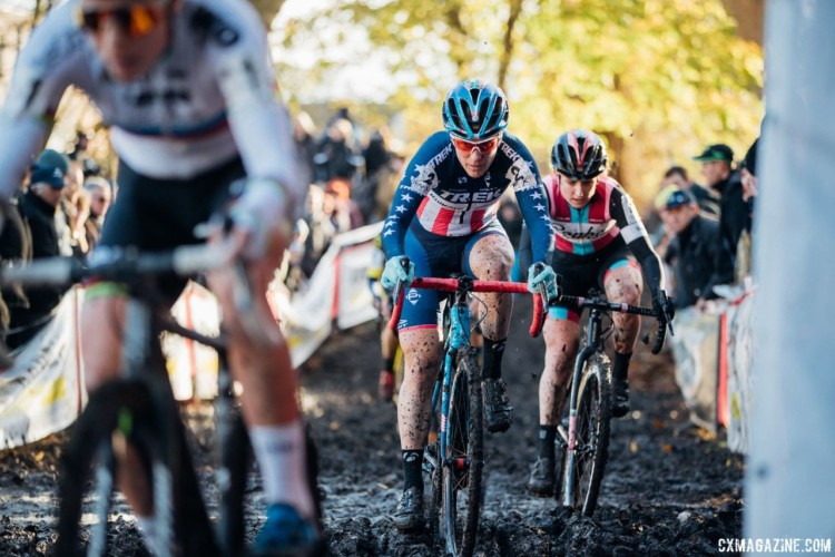Katie Compton and Ellen Noble eye up their paths through the mud. 2017 Flandriencross. © J. Curtes / Cyclocross Magazine
