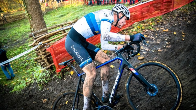 Mathieu van der Poel took control of the race early and save one fall, was smooth through the corners on the muddy course. 2017 Flandriencross. © J. Curtes / Cyclocross Magazine
