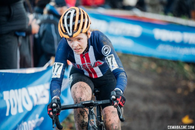 Clara Honsinger (Team S+M) finished 14th in her last EuroCrossCamp race. 2017 Flandriencross. © J. Curtes / Cyclocross Magazine