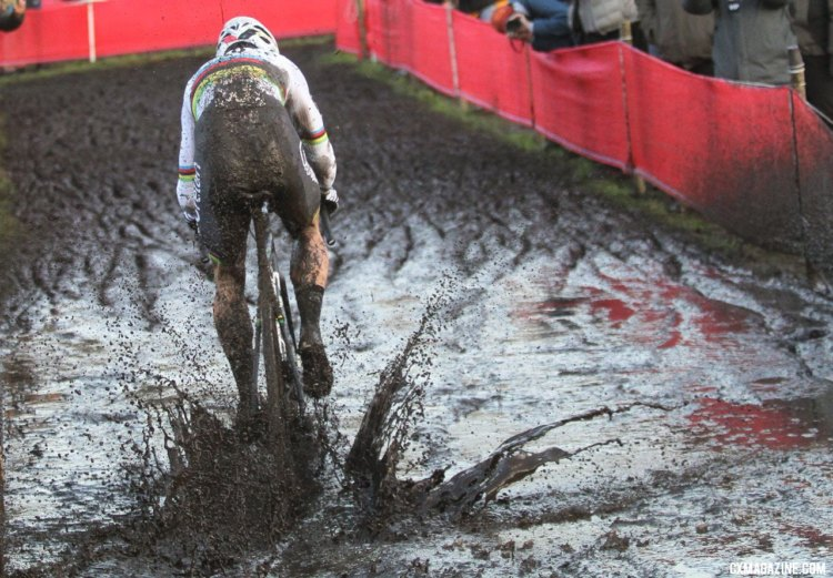 Wout van Aert had his choice of lines through the puddles after going solo early in the race. Elite Men, 2017 Zeven UCI Cyclocross World Cup. © B. Hazen / Cyclocross Magazine