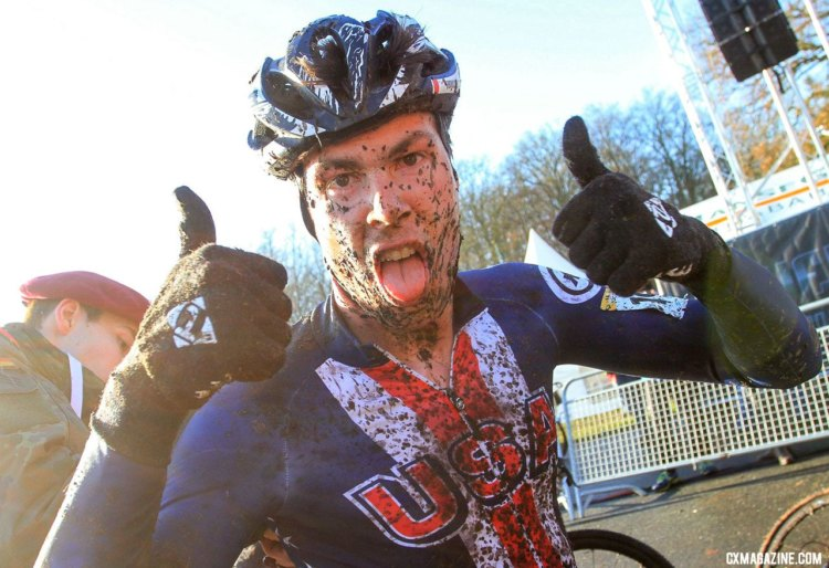 Maxx Chance was still in a good mood after his muddy afternoon. U23 Men, 2017 Zeven UCI Cyclocross World Cup. © B. Hazen / Cyclocross Magazine