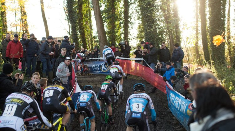 Mathieu van der Poel wasted no time in putting the pressure on the rest at the 2017 Flandriencross. © Cyclephotos