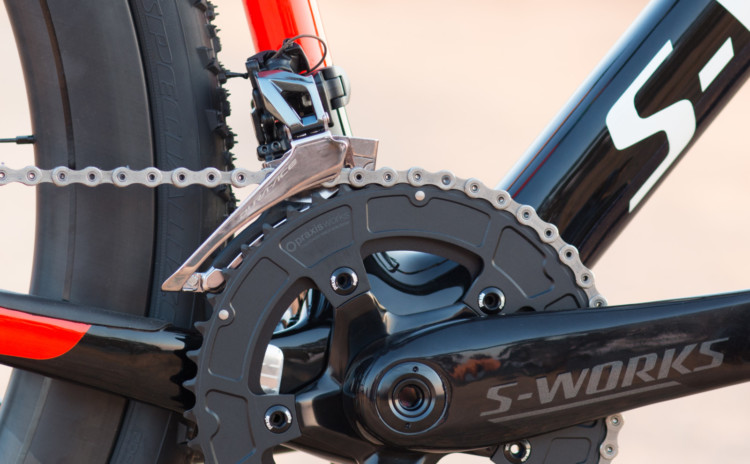 The S-Works crankset with carbon fiber spider matches the frame, and paired with Praxis rings, shifts well while shedding grams. 2018 Specialized S-Works CruX cyclocross bike, with Shimano Dura-Ace 9100. © Cyclocross Magazine