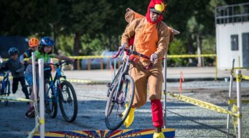 The kids hunt down the turkey at Turkey Cross. 2017 Surf City Cyclocross, Calfire Training Facility. © J. Vander Stucken