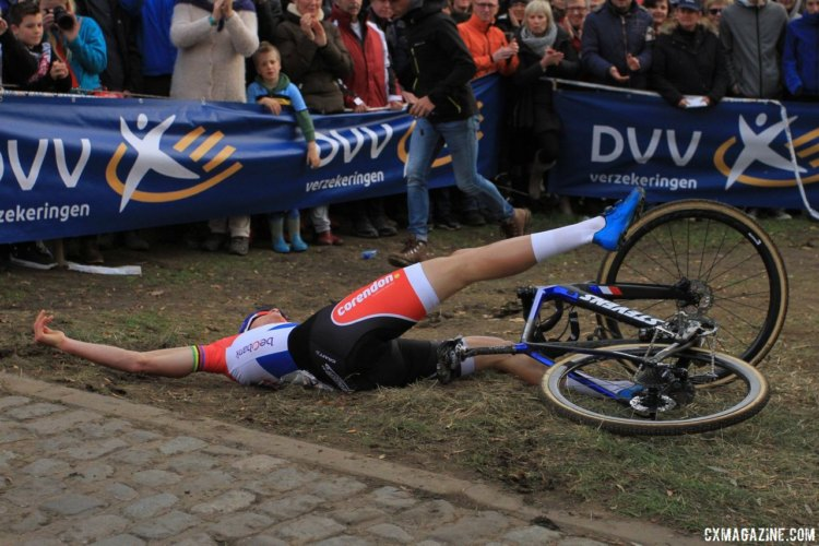 Mathieu van der Poel put in a full effort on Wednesday and collapsed at the finish line. 2017 Men's Koppenbergcross. © B. Hazen / Cyclocross Magazine