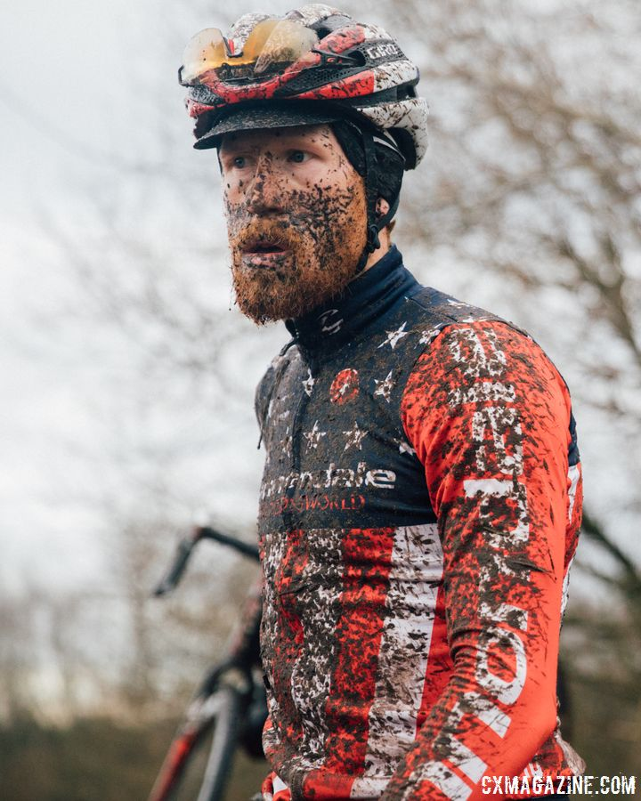 Stephen Hyde got his money's worth from the mud on Friday. 2017 World Cup Zeven Course Inspection. © J. Curtes / Cyclocross Magazine