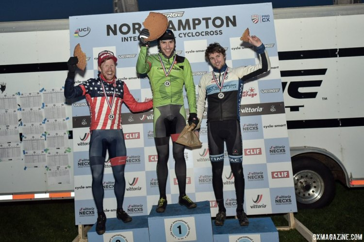 Men's podium: White, Hyde, Kisseberth, cookie. 2017 Northampton International Day 1. © Chris McIntosh