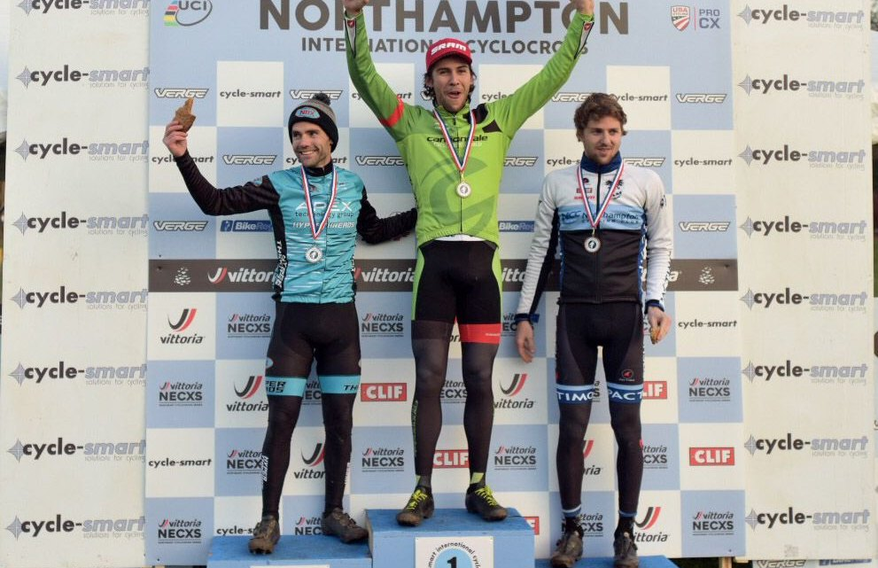 Men's podium: Curtis White, Justin Lindine and Jack Kisseberth. 2017 Northampton International Day 2. © Chris McIntosh